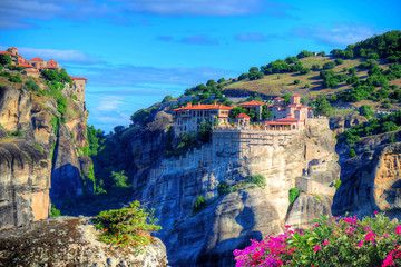 Beautiful landscape of Meteora with traditional monastery in summer holiday, Greece - Europe
