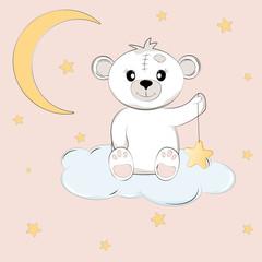 Cute teddy bear on the cloud holds the star.