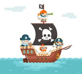 Pirate Ship crew Buccaneer Filibuster Corsair Sea Dog Sailors Captain Fantasy RPG Treasure Game Character Flat Design Vector Illustration