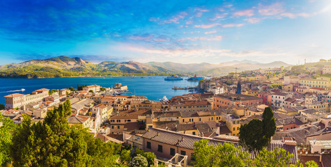 Old town and harbor Portoferraio, Elba island, Italy.
