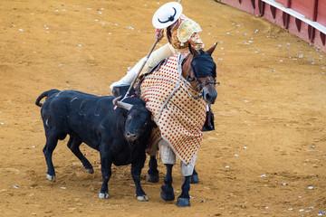 Picador a cavallo attacca toro