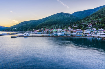 Panoramic view from the sea of the port of Sami Kefalonia