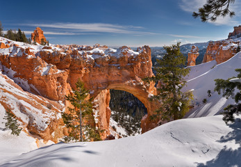 Bryce Canyon National Park under snow , winter landscape. Utah, USA