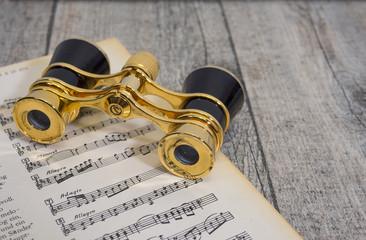 stare antyczne złote szkło opery, lornetki do opery