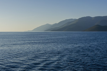 Sundown between the islands of the Ionian Sea