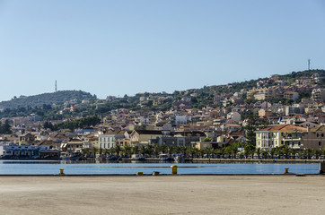 panoramic view of the port and city of lixouri on the island of cephalonia