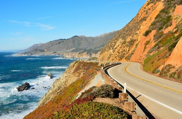 Highway 1 running along Pacific coast in California.
