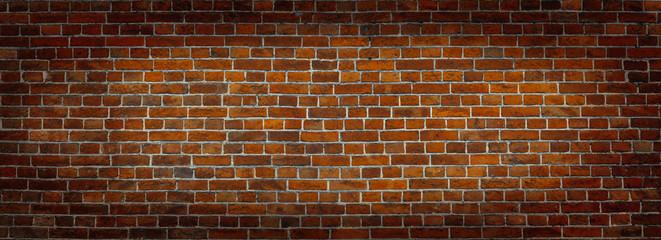 Red Brick wall panoramic view.