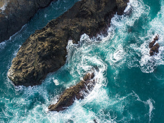 Aerial View of the Pacific Ocean and California Coast
