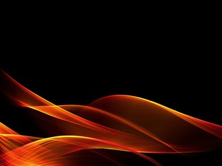 Abstract pastel orange wave on black background