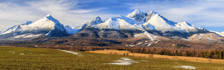 Panoramic view of High Tatras mountains in winter, Slovakia