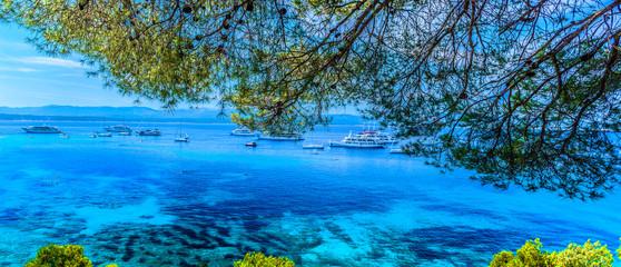 Panorama Adriatyku Chorwacja. / Widok na krajobraz Adriatyku w okresie letnim na wyspie Brac.