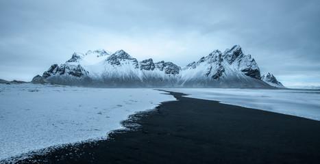 view of Vestrahorn mountain. In Stokksnes, Iceland.