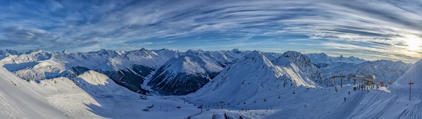 Parsenn mountain swiss alps panorama in winter