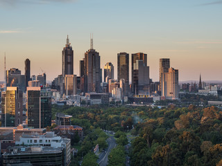 The Melbourne skyline at sunset.