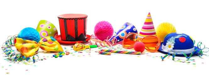 Colorful birthday or carnival background with party items isolated on white