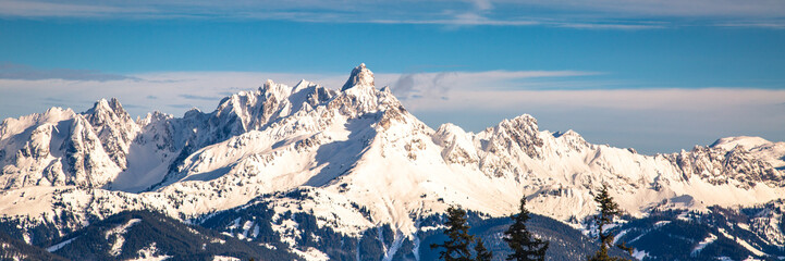 Austrian alps panorama. Mountains nature landscape.