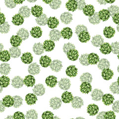 Seamless pattern with fresh green succulent plants on white background. Hand drawn watercolor illustration.
