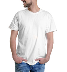 Young man in t-shirt on white background. Mockup for design