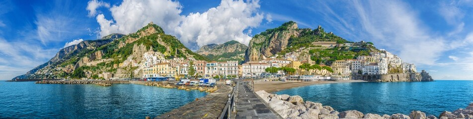 Beautiful panorama of Amalfi, the main town of the coast on which it is located taken from the sea. Amalfi situated in province of Salerno, in the region of Campania, Italy, on the Gulf of Salerno.