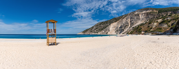 Panoramic view of beautiful beach at Myrtos Bay on the Ionian island of Kefalonia. Greece