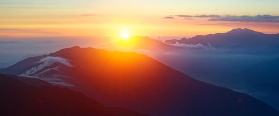 Panoramic view landscape at sunrise