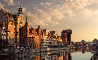 Calm, empty Gdansk old town harobour at the sunrise