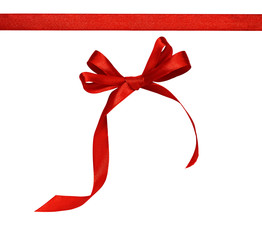 Red silk ribbon and a bow