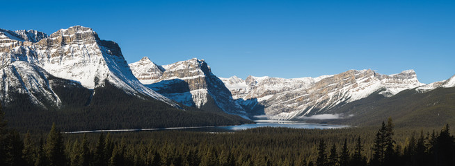 Hector Lake panorama in the rocky mountains