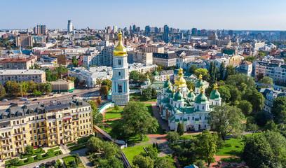 Powietrzny odgórny widok St Sophia katedra i Kijowska miasto linia horyzontu od above, Kijów pejzaż miejski, kapitał Ukraina
