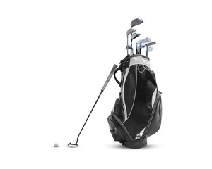 Golf bag ,golf ball and face balanced putter with Super Stroke putter grip isolated on white background