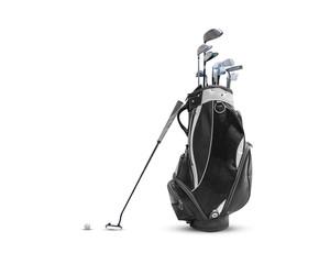 Torba golfowa, piłka golfowa i twarz zrównoważony miotacz z uchwytem Super Stroke na białym tle