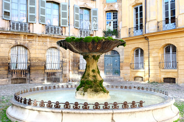 Famous old fountain in aix en provence France