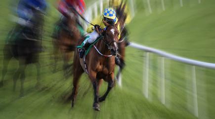 intense motion blur speed on winning lead racehorse