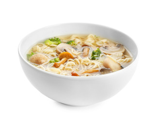 Bowl with mushroom soup, isolated on white