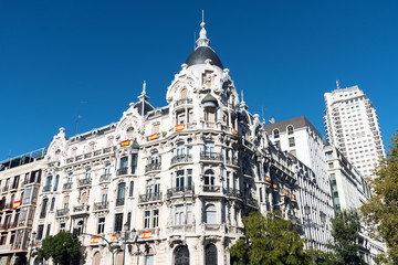 Historic building seen in downtown Madrid, Spain
