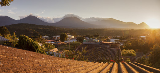 Volcanos of Cerro Verde National Park seen from Juayua