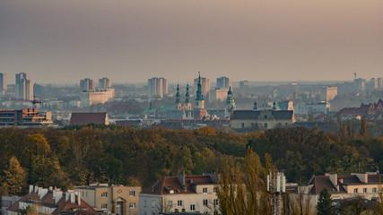 Panorama centrum miasta Poznań z lotu ptaka - Stary Rynek, Wzgórze Św. Wojciecha