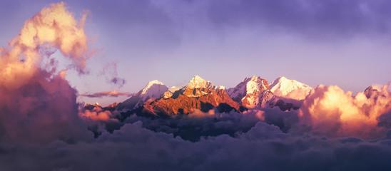 Beautiful panoramic view mountains at sunrise