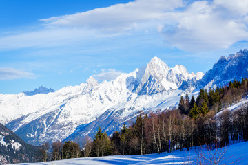 Beautiful landscape of snowy mountain view in Bellvue Saint-Gervais-les-Bains. One of Alps mountain top near Mont Blanc. Famoust place for winter sport like skiing with family and for recreation.