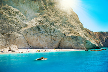 Sunshine over Porto Katsiki beach in summer holiday, Lefkada island Greece