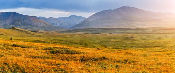 alpine plateau at sunset