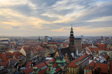 Wroclaw skyline at evening time
