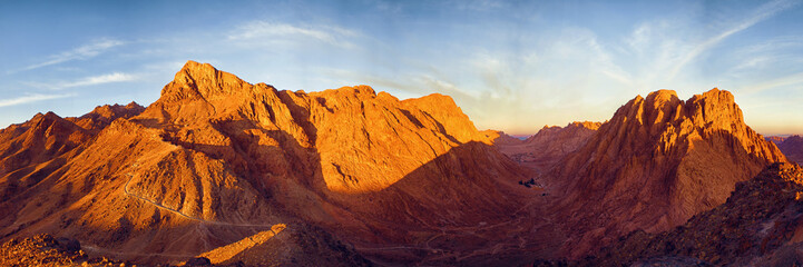 Amazing Sunrise at Sinai Mountain, Beautiful dawn in Egypt, Beautiful view from the mountain