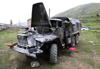 damaged machine after artillery fire