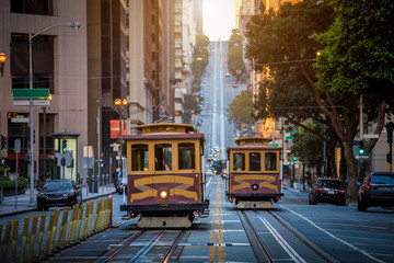 San Francisco Cable Cars on California Street at sunrise, California, USA