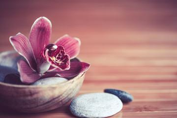 zen - fleur orchidée et pierres