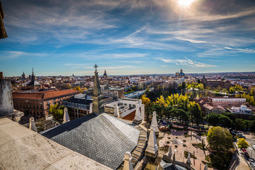 View of Madrid from Almudena Cathedral, Spain