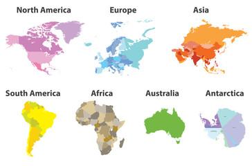 wektor zestaw wszystkich kontynentów mapy polityczne na białym tle