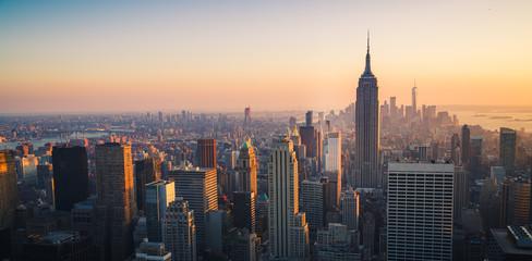 Manhattan linia horyzontu przy zmierzchem, Miasto Nowy Jork, Stany Zjednoczone Ameryka